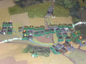 A fierce contest ensues in the woodland in the west . The French make good progress.