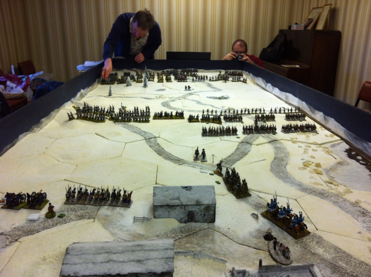 The initial set-up. French rearguard - foreground & centre.